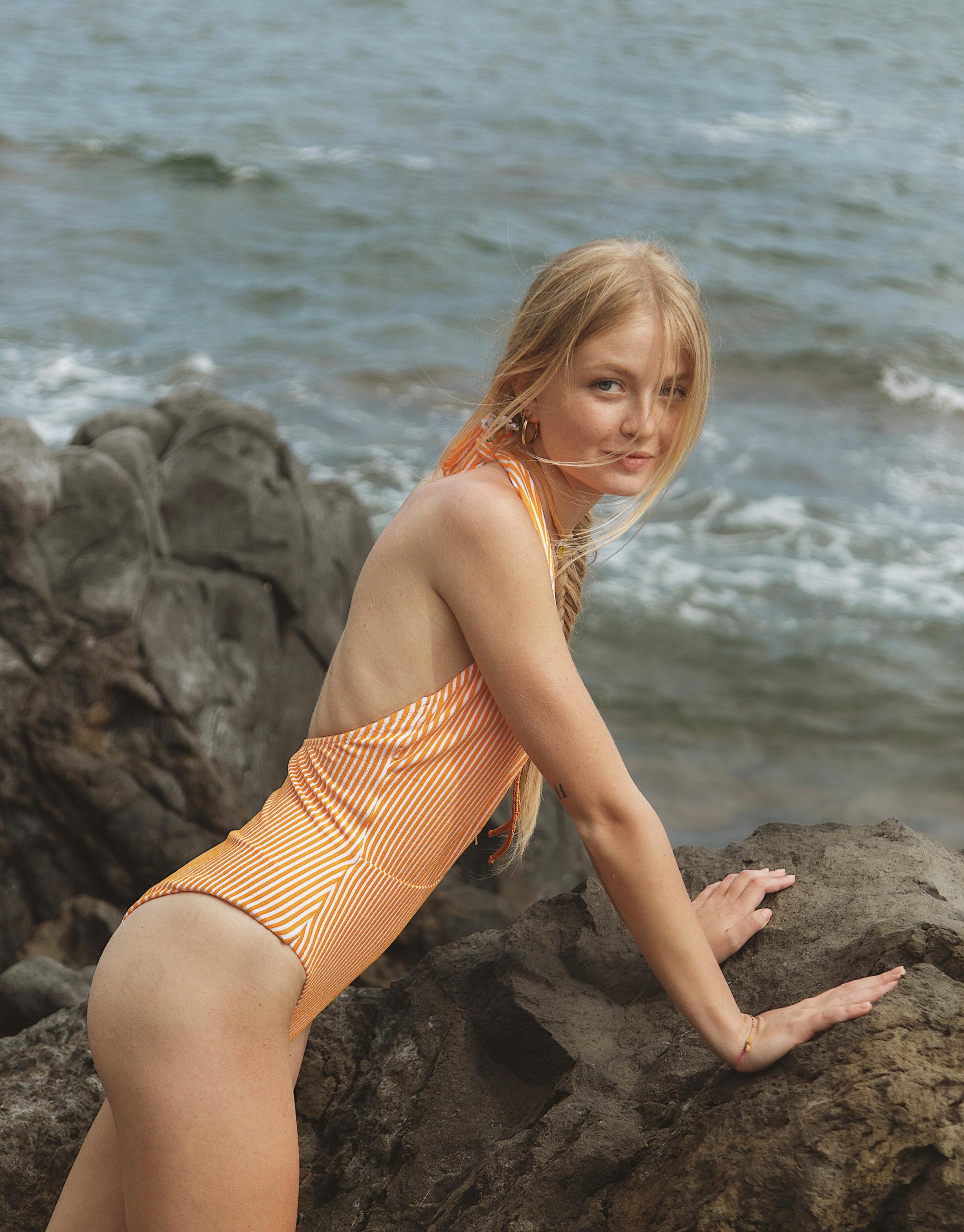 Stripes&shine Spongy Maillot in Orange