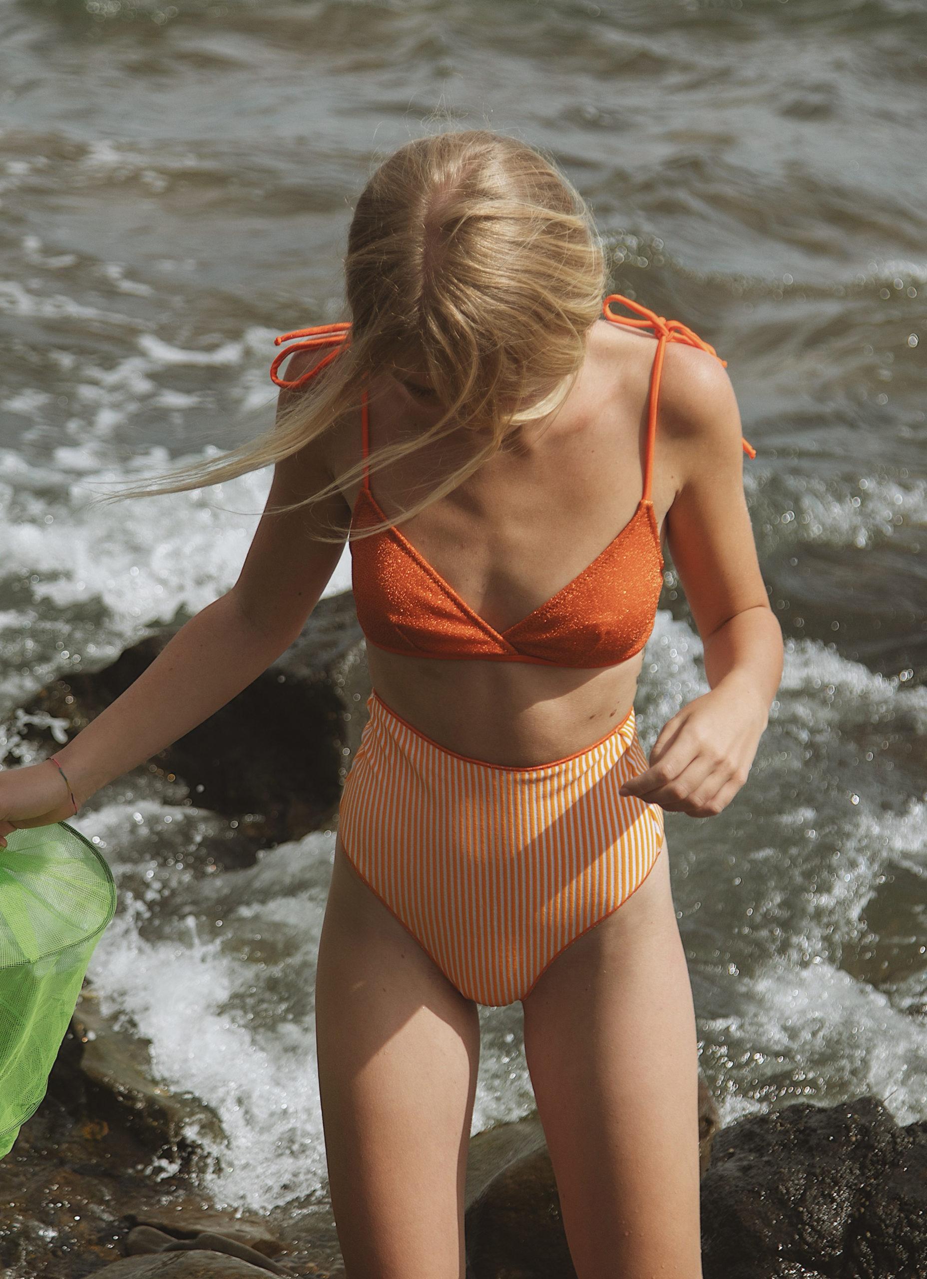 Stripes&Shine Spongy  High Waisted In Orange