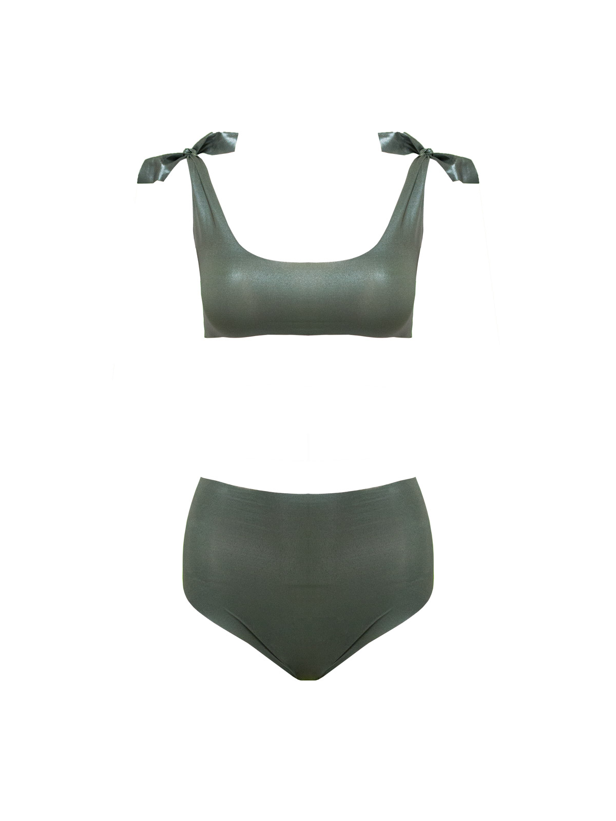 Knotting Bay High Waisted in Metallic Green