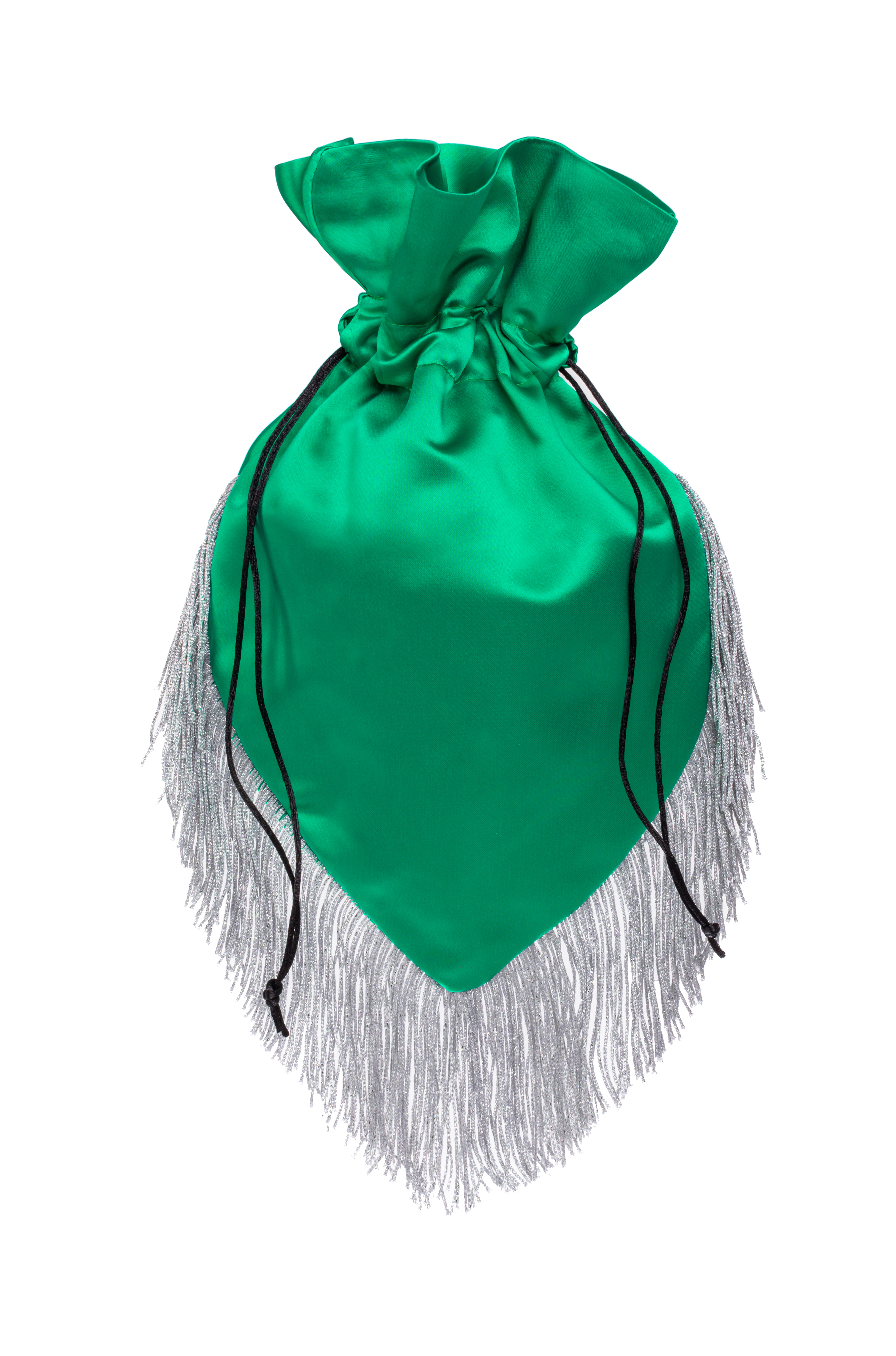 Emerald pouch with silver fringe
