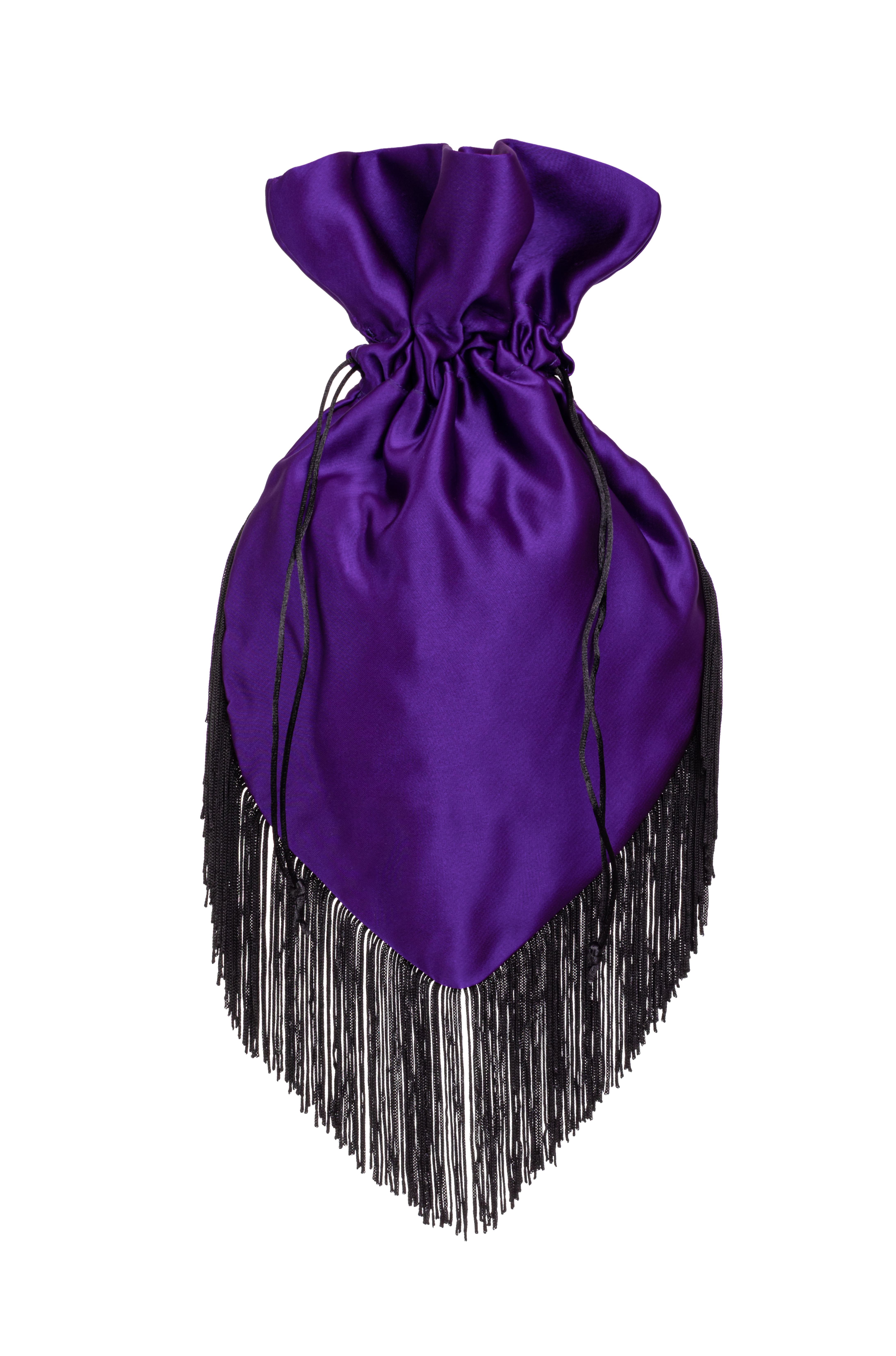 Amethyst Pouch with black fringe