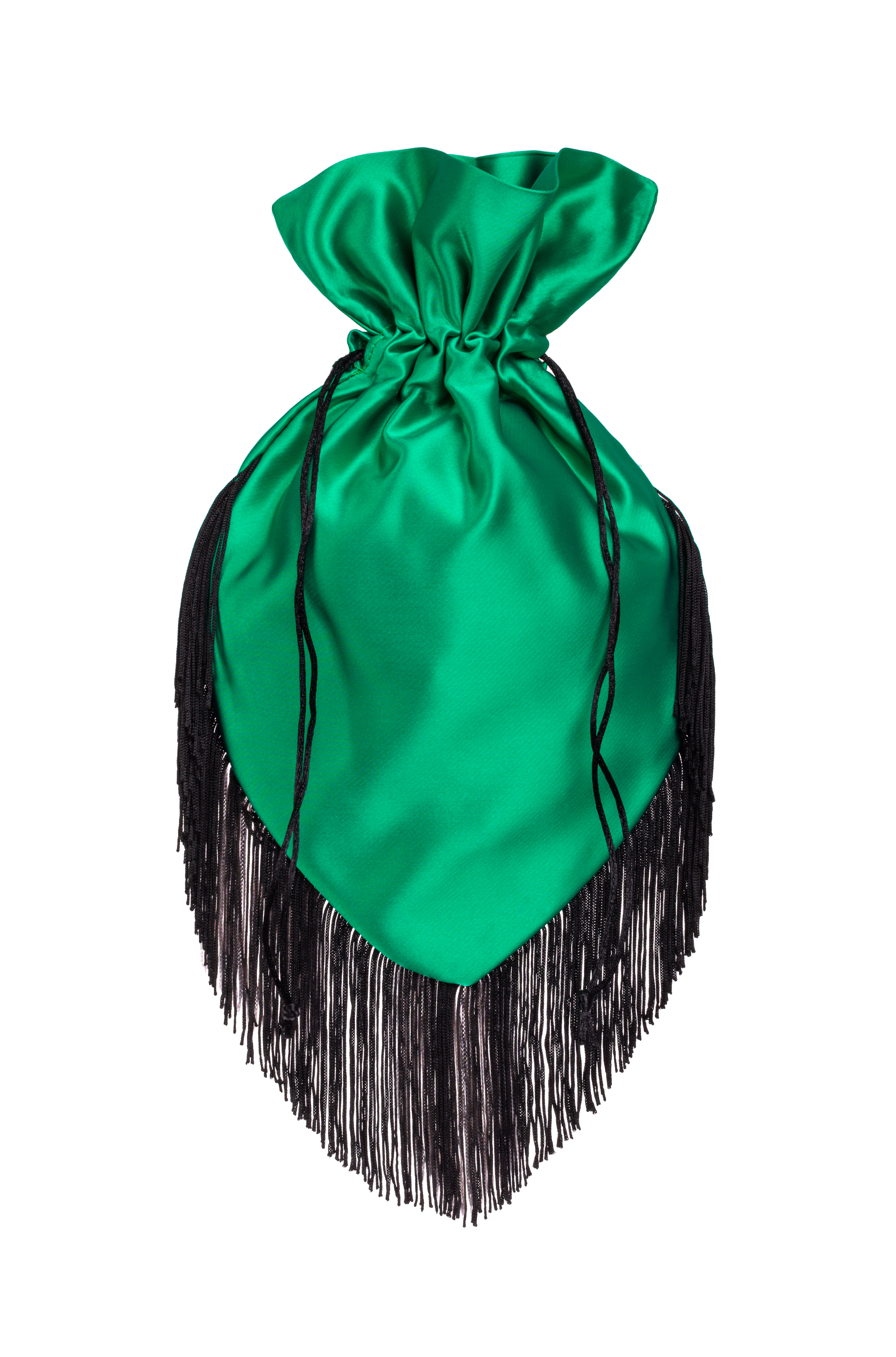Emerald pouch with black fringe
