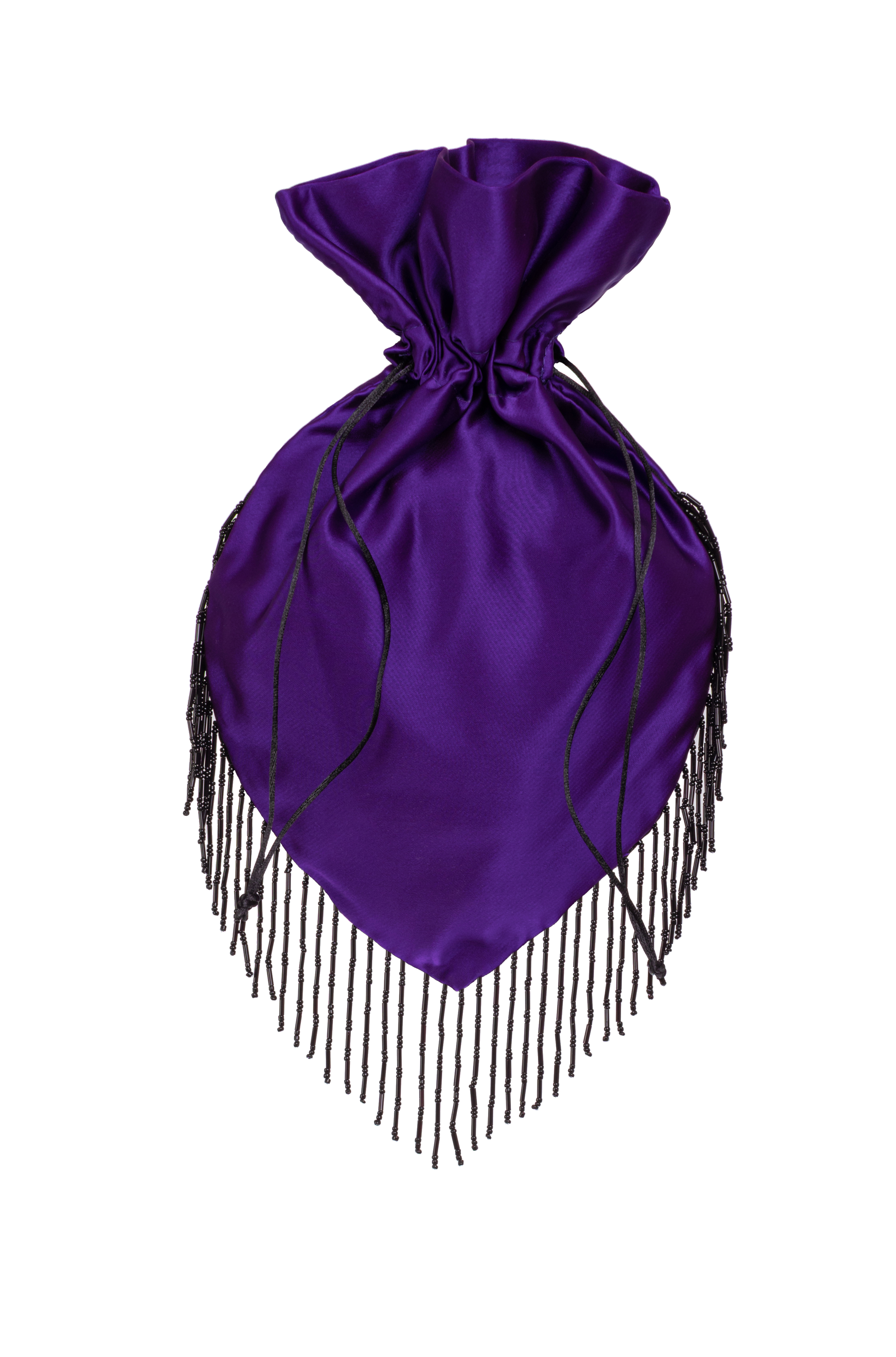 Amethyst Pouch with Coral fringe