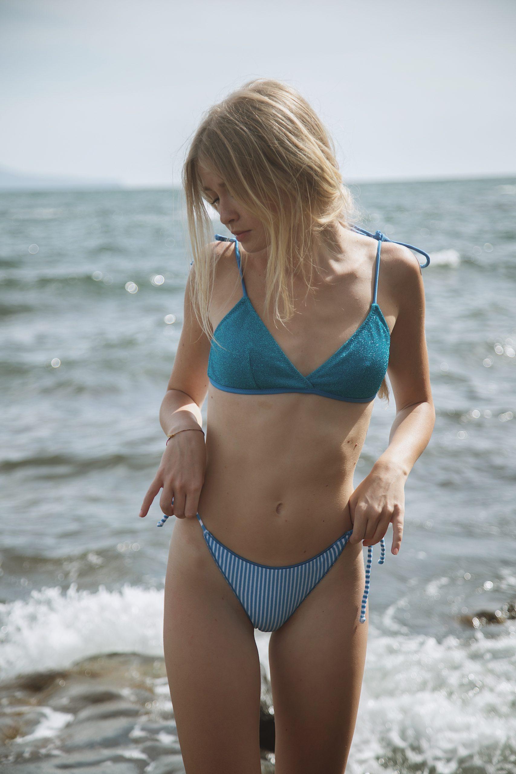 Stripes&Shine Spongy Bikini in Light Blue